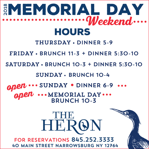 403a05c9f1 ... be open on Friday for brunch from 11-3, for dinner on Sunday from 6-9  and for brunch on Memorial Day from 10-3. And don't miss Heidi Mollenhauer  in the ...