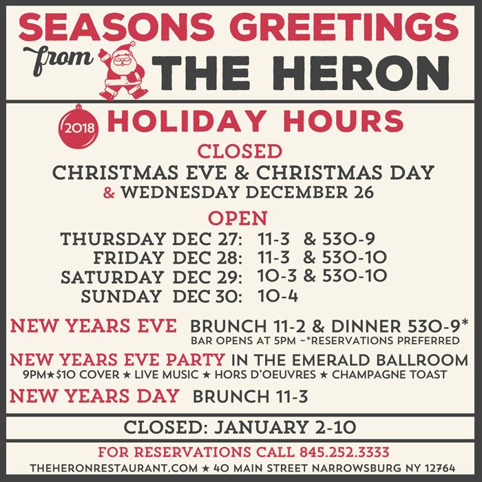 The Heron Restaurant | 40 Main Street | Narrowsburg, NY