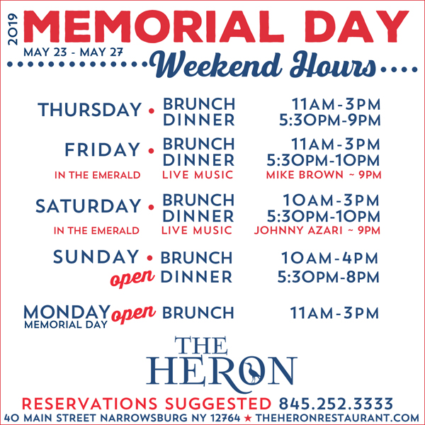 04601ac3b0 Happy Memorial Day Weekend! Remember to call ahead for reservations –  845-252-3333!